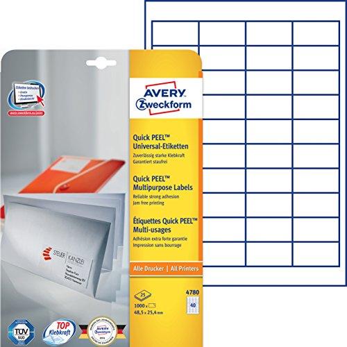 Avery Zweckform 4780 Universal-Etiketten (A4, Papier matt, 1,000 Etiketten, 48,5 x 25,4 mm) 25 Blatt weiß
