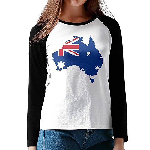 STN&Best Women's Australia Flag Cotton Tee Fashion Clothing In Black - In Australia Usps