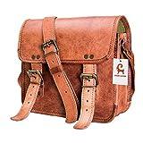leather backpack made in usa - Urban Leather Small Messenger Saddle Satchel Sling Crossbody Bag Handbag Purse for Men Women Boys Girls