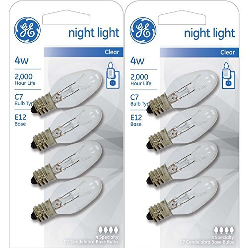 GE Night Light Bulb Standard, 4 Watt, Clear 4 ea (Pack of (Lite Night Light)