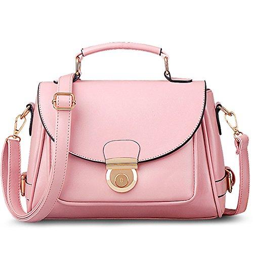 fanhappygo Fashion Retro Leder Damen elegant Clamshell taschen Schulterbeutel Umhängetaschen Abendtaschen rosa wj83E