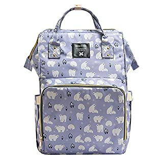 Adoraland Nappy Changing Backpack Baby Changing Bag Waterproof Maternity Backpack, White Bear, X-Large