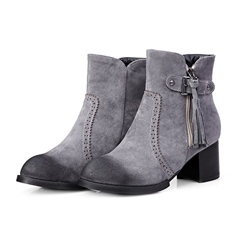 AllhqFashion Womens Kitten-Heels Solid Round Closed Toe Frosted Zipper Boots Gray D1T3Nvr2JI