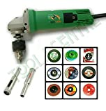 TOOLS CENTRE 12 IN 1 UNIVERSAL COMBO OF DRILL MACHINE / ANGLE GRINDER ,CAN BE USED AS AN ANGLE GRINDER & AS DRILL MACHINE WITH FREE 10MM DIAMOND BIT + 9PCS GRINDING COMBO WHEELS FOR VARIOUS APPLICATIONS.