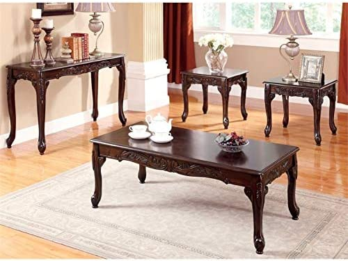 Furniture of America Alice 4-Piece Wood Coffee Table Set in Dark Cherry