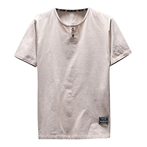 iOPQO T-Shirt for Men, Summer Casual Linen Cotton Short Sleeve O Neck top Blouse