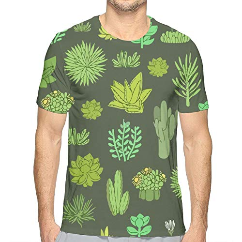 Flying XIE Men Succulents Plants Popular 3D Creative Print T-Shirt Short Sleeve Tees