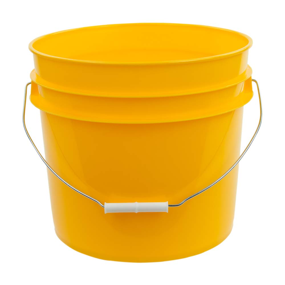 3.5 Gallon Yellow White High Density Plastic Bucket with Pour Spout Lid (4 Buckets)