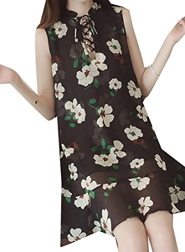 Short Print Women's Jaycargogo Black Dress Lace Up Mini Floral Sleeveless Summer Chiffon wnTAzq