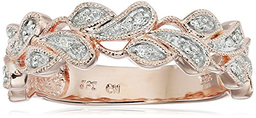 Rose Gold Plated Sterling Silver Leaves Diamond Band (1/10 cttw, I-J Color, I2-I3 Clarity), Size 7