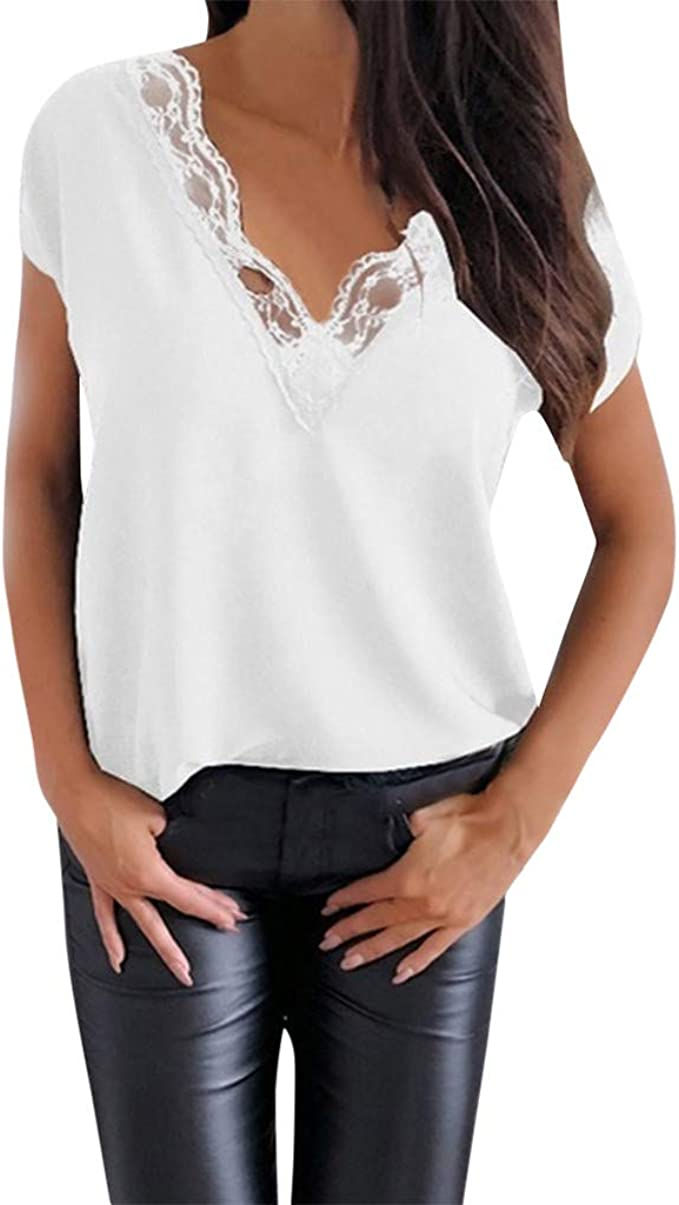 MOTOCO Camisa Casual de Mujer Camiseta de Verano Cuello En V Profundo Manga Corta Traje Cruzado CordóN SóLido Camiseta Tops(XL, Blanco): Amazon.es: Ropa y accesorios