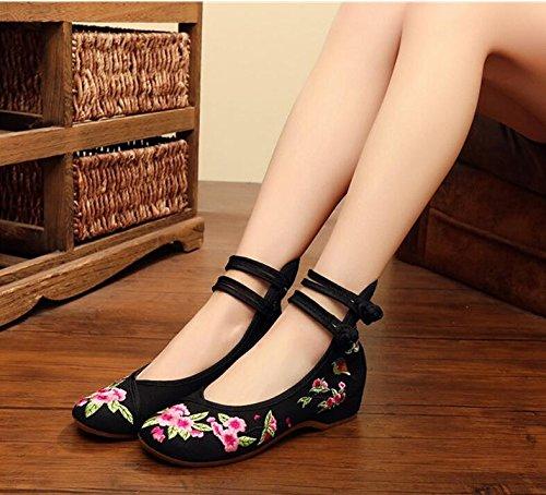 KHSKX-El Aumento En Los Zapatos Femeninos Retro Dichotomanthes Fondo Folk Style Zapatos Zapatos Chinos Viento black