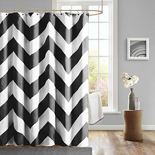 Mi-Zone Mizone MZ70-278 Libra Shower Curtain 72x72 Black, (Mizone Shower Curtain)