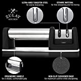 Zulay Kitchen Manual Stainless Steel Knife Sharpener for Straight and Serrated Knives, Ceramic and Tungsten - Easy Sharpening for Dull Steel, Paring, Chefs and Pocket Knives, Sharpens Scissors