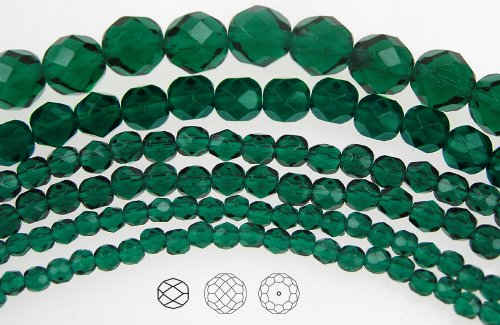 8mm (51) Emerald, Czech Fire Polished Round Faceted Glass Beads, 16 inch strand