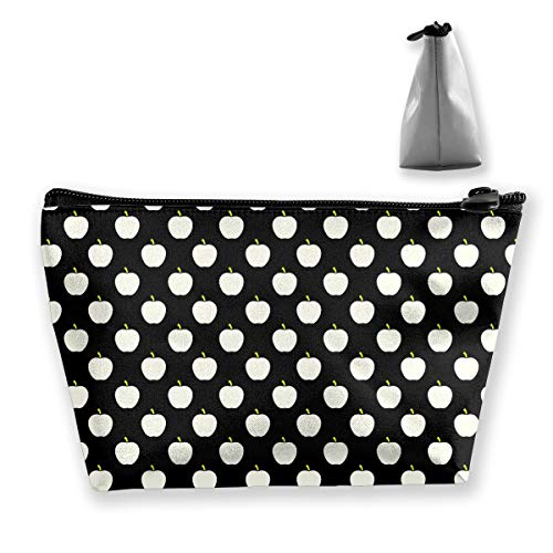 Makeup Bag Cosmetic Apples Black White Portable Cosmetic Bag Mobile Trapezoidal Storage Bag Travel Bags with Zipper -