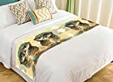 PicaqiuXzzz Custom Bird Animal Bed Runner, Colorful Owl Art Night Owl Bed Runners And Scarves Bed Decoration 20x95 inch