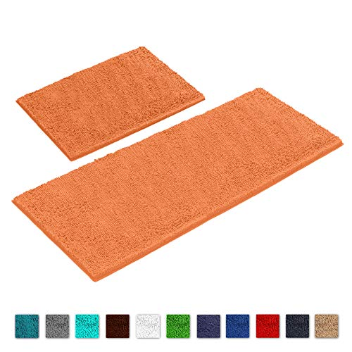 (LuxUrux Bathroom Rug Mat Set-Extra-Soft Plush Bath Shower Bathroom Rug,1'' Chenille Microfiber Material, Super Absorbent. Machine Wash & Dry (Rectangular Runner Set, Orange) )