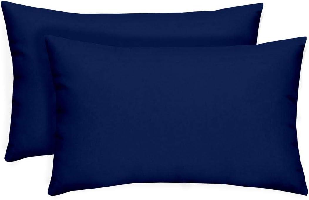 RSH D cor Set of 2 – Indoor Outdoor Solid Royal Cobalt Blue Decorative Rectangle Lumbar Throw Toss Pillow – Choose Size and Choose Color