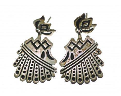 Steven J Begay, Pierced Earring, Silver Overlay, Navajo Handmade