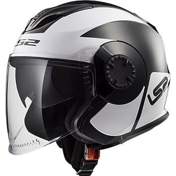 LS2 Casco de Moto verso Mobile negro Color blanco – M, negro/blanco,