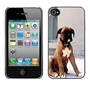 SHIMIN CAO- Dise?o Caso duro de la cubierta Shell protector FOR Apple iPhone 4 4S 4G- Dog Cute Puppy Pet Paws