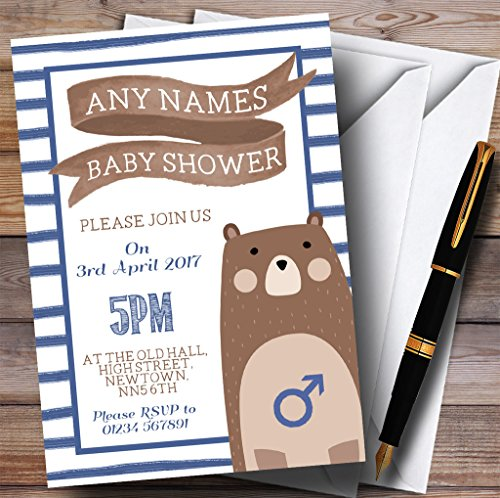 Blue Stripes Teddy Bear Invitations Baby Shower Invitations