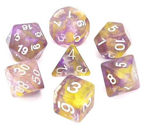Polyhedral Gaming Dice Complete Sets of 7-Die Dice - D4 D6 D8 D10 D12 D20 & Percentile Dice – Great for Tabletop, Roleyplaying & DnD Games, Math & MTG (Purple/Yellow)