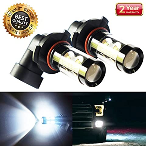 Extremely Bright Light Bulb 1100 Lumens Cree 50 Watt Xenon White H10 9145 Bulbs Led Fog Lights Projector 6000k Kit Replacement For Cars New Version (Set of - 9145 Bulb