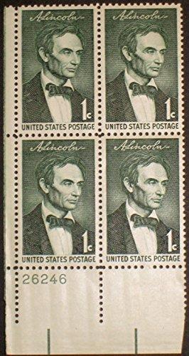 #1113 - 1959 1c Abraham Lincoln U.S. Postage Stamp Plate Block (4)