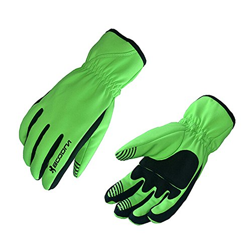Ezyoutdoor Unisex Gel Pad Breathable Full Finger Cycling Gloves for Cycling Biking Hiking Camping Jogging (Green, L)