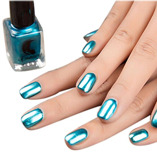 Mirror Silver Nail Polish, TONSEE Mirror Nail Polish Plating Silver Paste Metal Color Stainless Steel (Blue)