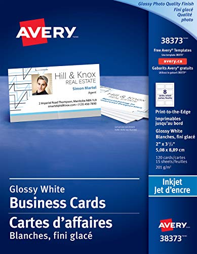 Avery Glossy Photo Quality Business Cards for Inkjet Printers, 2 x 3-1/2, White, Glossy, Rectangle, 120 Pack (38373)