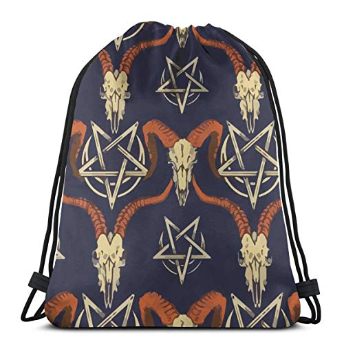 Satan Baphomet Sheep Head Demon Drawstring Bag Backpack Travel Gymsack Drawstring Backpack Sackpack]()