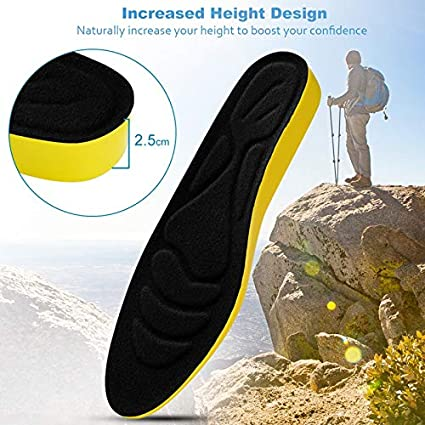 59fdce04870df Amazon.com: Gold Happy PU Height Increase Insoles for Men Women Arch ...