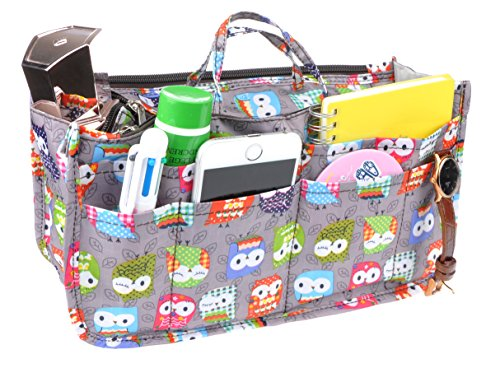 Vercord Printed Purse Handbag Tote Insert Organizer 13 Pockets With Zipper Handle Owls Medium -