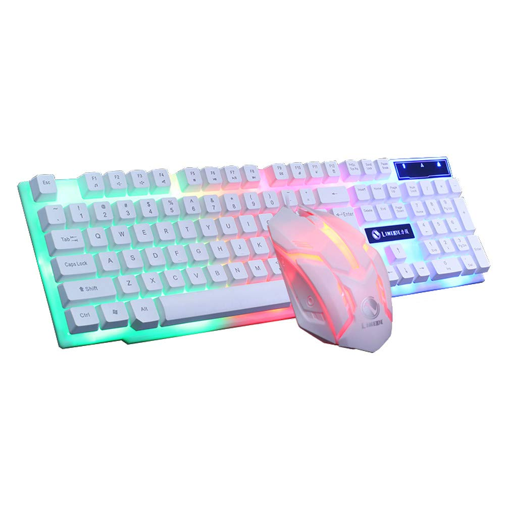 Axiba Gaming Keyboard Mouse Sets USB Wired 104 Keys Rainbow LED Backlit Multimedia Ergonomic Gamer Keyboard 2400DPI 4 Buttons Optical Game Mice Mouse Pad for PC Laptop White