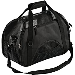 Juxcity Pet Carrier Soft Sided & Side and Top Mesh Pet Travel Carriers Portable Bag for Puppies and Small Pets, Airline-Approved (BLACK)
