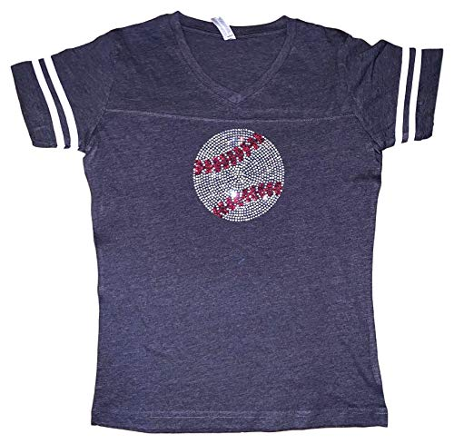 Tiger T-shirt Tee - FanGarb Womens/Girls Rhinestone Bedazzled Navy Baseball v-Neck tee Shirt XLarge