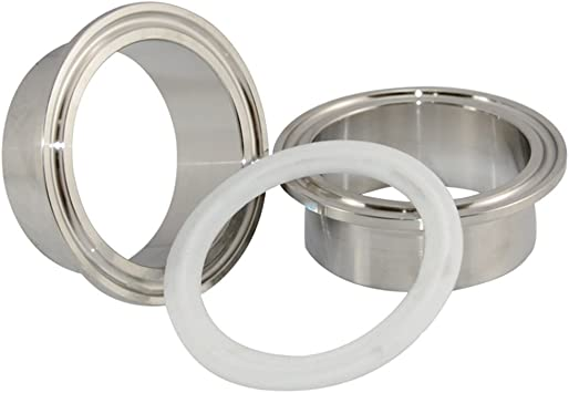 SUPERWHOLE 1 Pair 2 Pcs 3 76mm Weld on Ferrule Sanitary Pipe Fitting SS316 PTFE Gasket