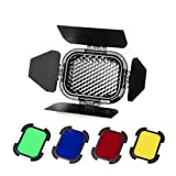 Fomito Godox BD07 Dedicated barn door with detachable honey comb grid and 4 color filters (yellow, green, red, blue) for Godox AD200 Flash