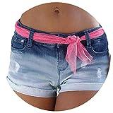Women Popular Shorts Fashion Women Sexy Beach Casual Short Jeans High Waist Denim Shorts Casual Denim Shorts,Blue,S