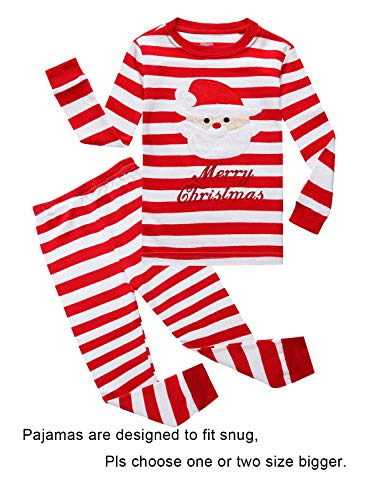 IF Pajamas Christmas Striped Santa Claus Little Girls Boys Pjs 100% Cotton Long Sleeve Kid Pajamas Sets Size 6 Red