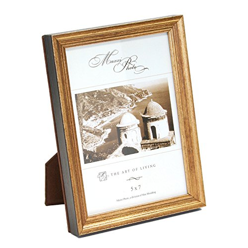 Maxxi Designs Photo Frame with Easel Back, 5 x 7, Antique Gold Leaf Wood Hampton ()