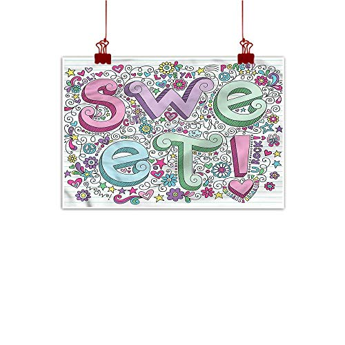 Wall Painting Prints Groovy,Doodle Sweet Text Ornamental 20