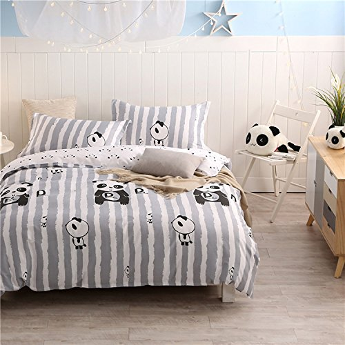 WarmGo Home Bedding Set for Adult Kids Panda Pattern Duvet Cover Set 4 Piece Full/Queen Size without Comforter by WarmGo