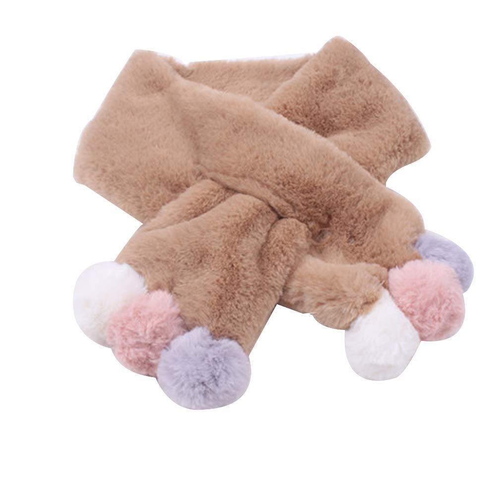 shiYsRLAutumn Winter Princess Girls Collar Scarf Ball Decor Comfortable Neck Warmer - White