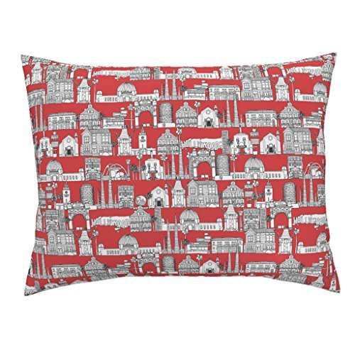 Roostery Architecture Standard Knife Edge Pillow Sham Los Angeles Red by Scrummy Natural Cotton Sateen Made
