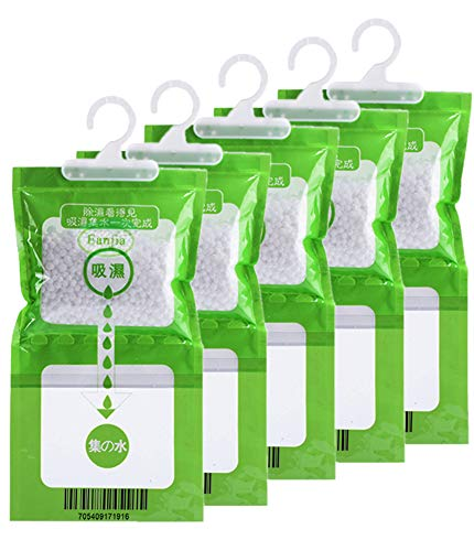 Eanjia 5 Pack Kitchen Bathroom Wardrobe Hanging Hygroscopic Anti-Mold Deodorizing Moistureproof Desiccant Bag, Dehumidification Process Could be Witness