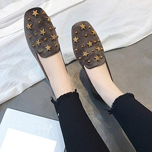 Shoes Shoes Sexy Flat Sandals Fashion Casual Suede Women Gray Rivets Sandals Ladies xpzS011